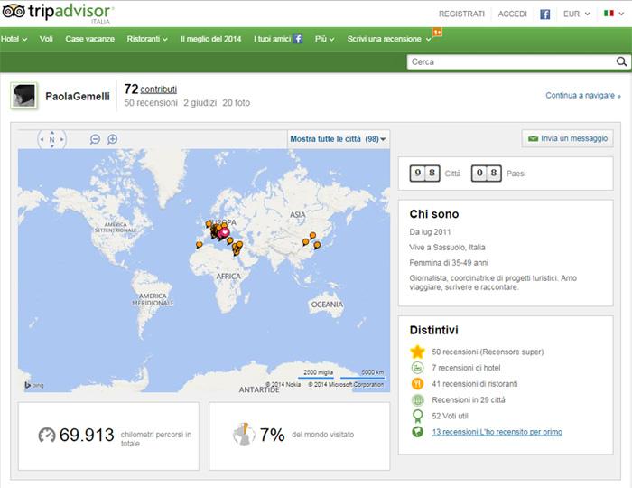 Screenshot profilo utente Tripadvisor (eh, sì, è proprio il mio)